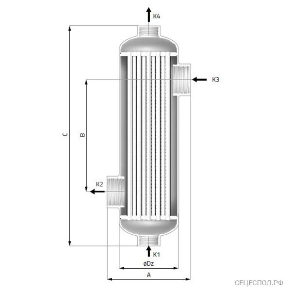 Теплообменник Secespol B-Line - схематический чертеж