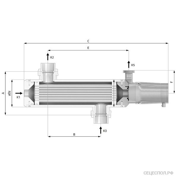 Теплообменник Secespol EVO EQ - схематический чертеж