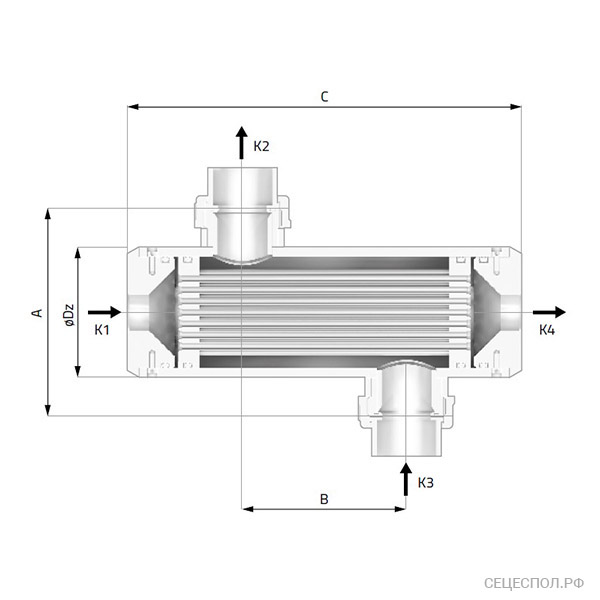 Теплообменник Secespol EVO - схематический чертеж