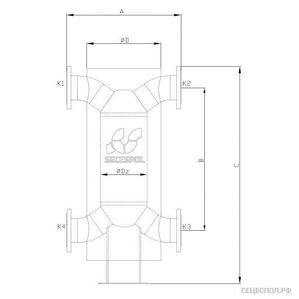 Теплообменник Secespol Had 12.114.08.50 - схематический чертеж