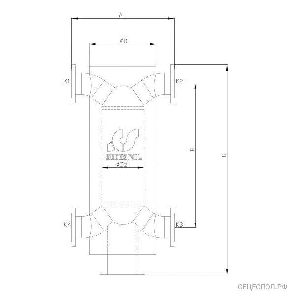 Теплообменник Secespol Had 12.114.08.60 - схематический чертеж