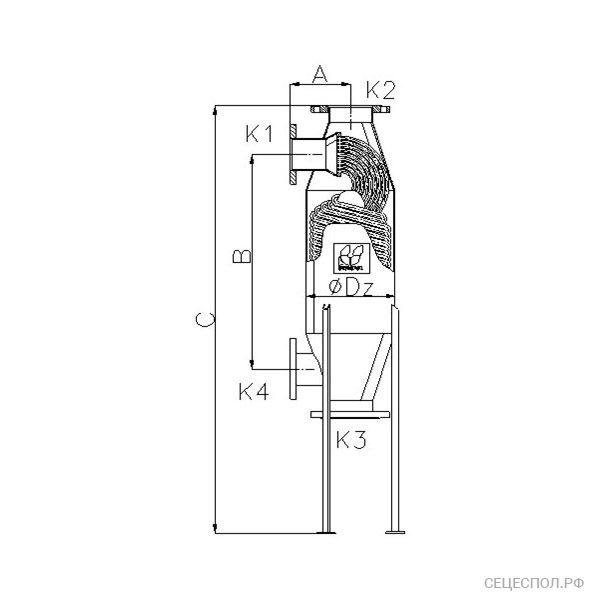 Теплообменник Secespol JAD 14.163 - схематический чертеж