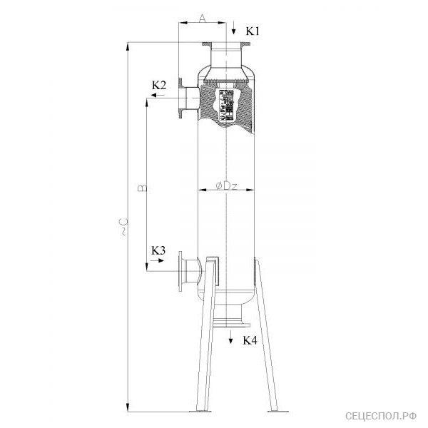 Теплообменник Secespol JAD 15.177.10 - схематический чертеж
