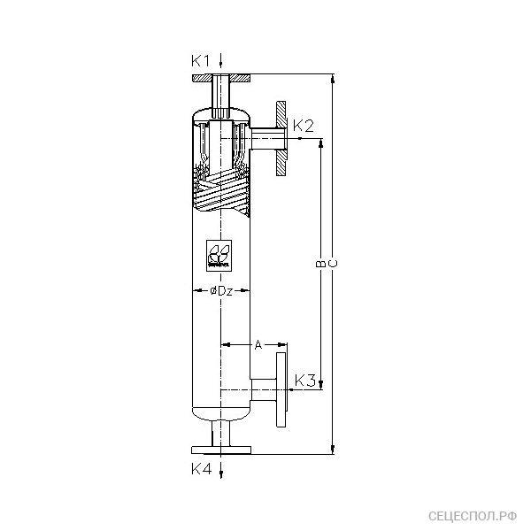 Теплообменник Secespol JAD 3.18 - схематический чертеж