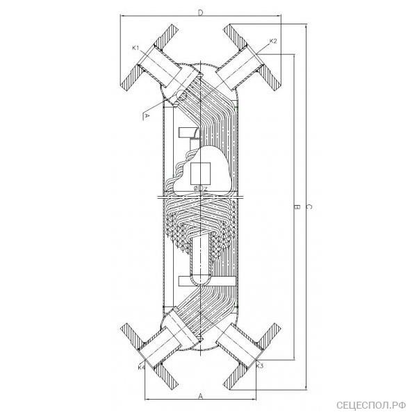 Теплообменник Secespol JAD s0-x - схематический чертеж