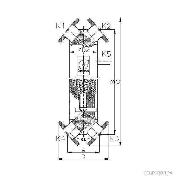 Теплообменник Secespol JAD x-2-11 - схематический чертеж