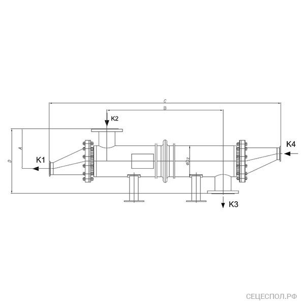 Теплообменник Secespol P-line - схематический чертеж
