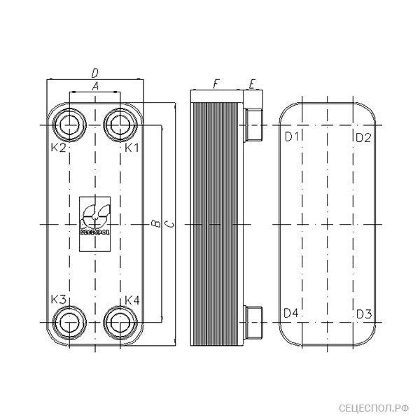 Теплообменник Secespol L-line lj30m - схематический чертеж