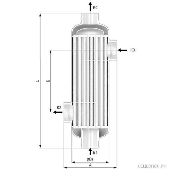 Теплообменник Secespol REV - схематический чертеж