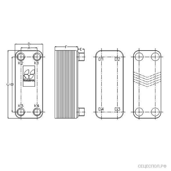 Теплообменник Secespol SafePLATE lb60 - схематический чертеж