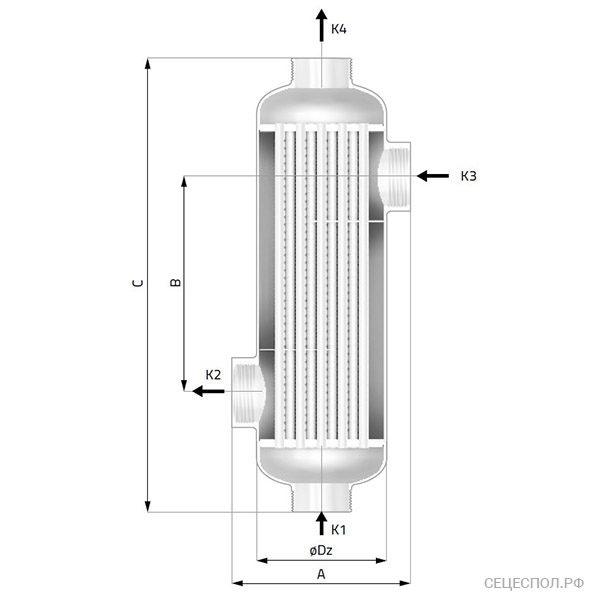 Теплообменник Secespol ti - схематический чертеж